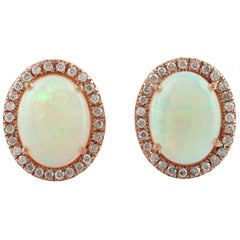 Ethiopian Opal Diamond 18 Karat Gold Oval Stud Earrings