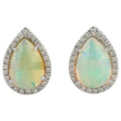 Ethiopian Opal Diamond 18 Karat Gold Pear Stud Earrings