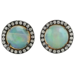 Ethiopian Opal Diamond 18 Karat Gold Stud Earrings