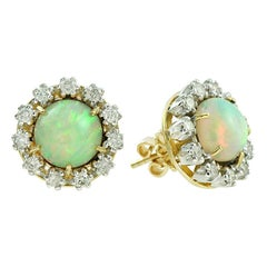 Ethiopian Opal Diamond 18 Karat Yellow Gold Earrings