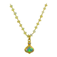 Ethiopian Opal, Diamond and 18 Karat Gold Beaded Chain Pendant Necklace