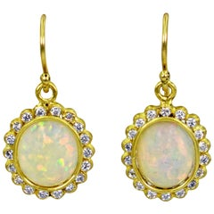 Ethiopian Opal Diamond Halo 22 Karat Gold Dangle Earrings