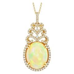 Ethiopian Opal Diamond Necklace 18K Yellow Gold