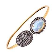 Ethiopian Opal Diamond Open Bangle Bracelet