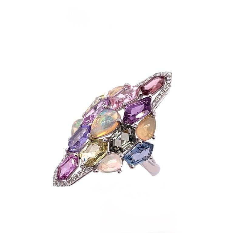 Contemporary Ethiopian Opal, Multi-Color Sapphire and Diamond Cocktail Ring For Sale