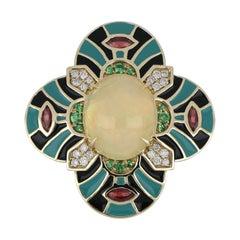 Ethiopian Opal & Multi Stone Studded Enamel Ring in 14 Karat Gold