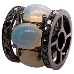 Ethiopian Opal Pendant with Black Diamonds in 14k White Gold Black Rhodium