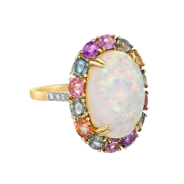Contemporary Ethiopian Opal & Rainbow Sapphire Ring with Diamond in 18 Karat Yellow Gold For Sale