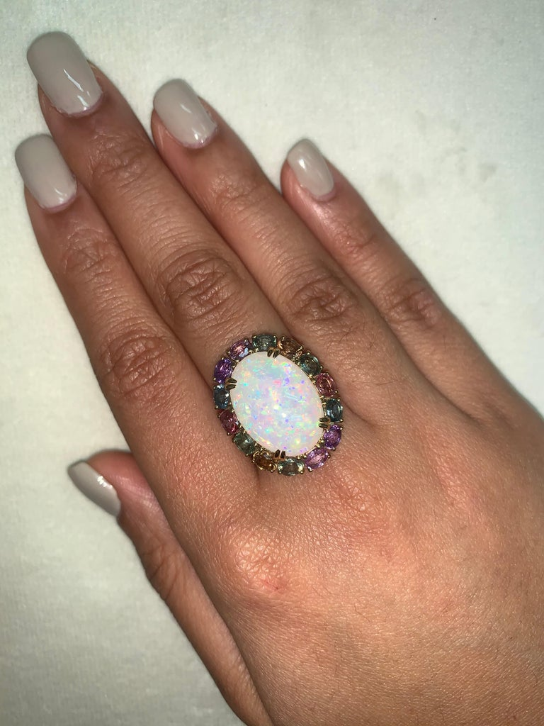 Cabochon Ethiopian Opal & Rainbow Sapphire Ring with Diamond in 18 Karat Yellow Gold For Sale