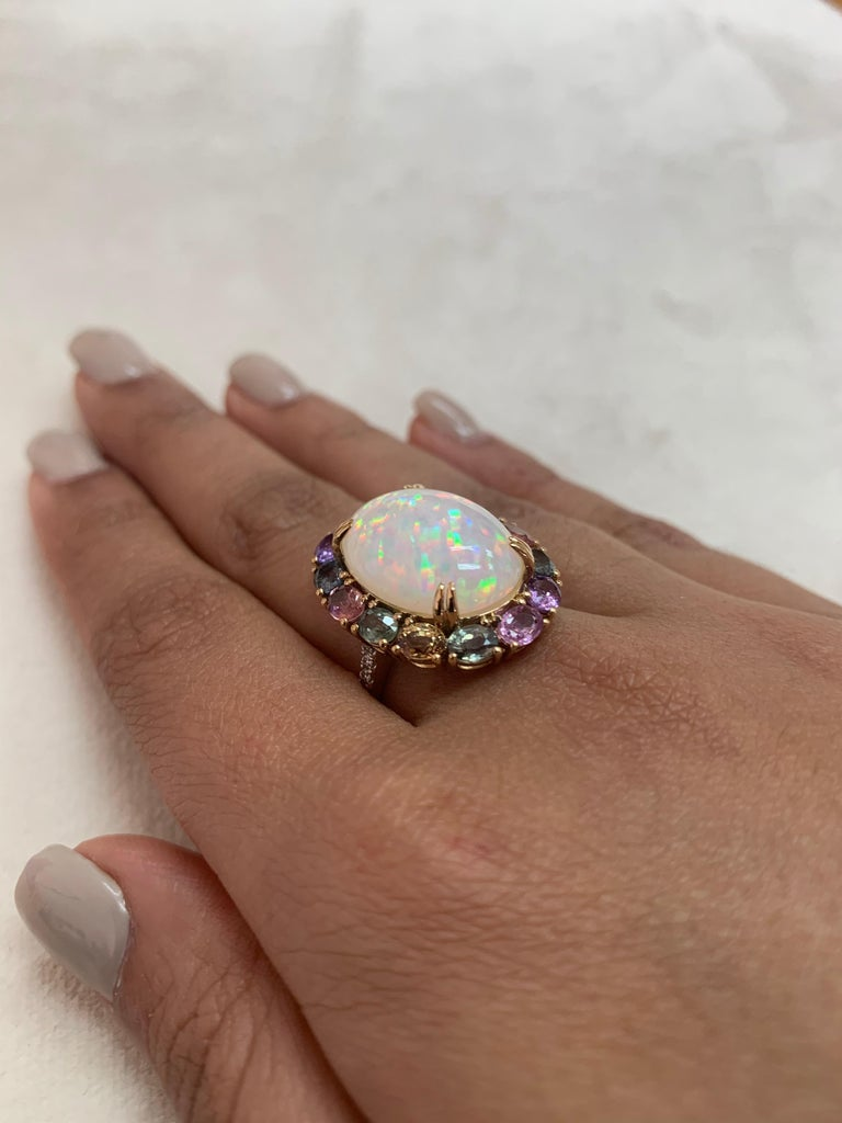 Ethiopian Opal & Rainbow Sapphire Ring with Diamond in 18 Karat Yellow Gold In New Condition For Sale In Hong Kong, Kowloon