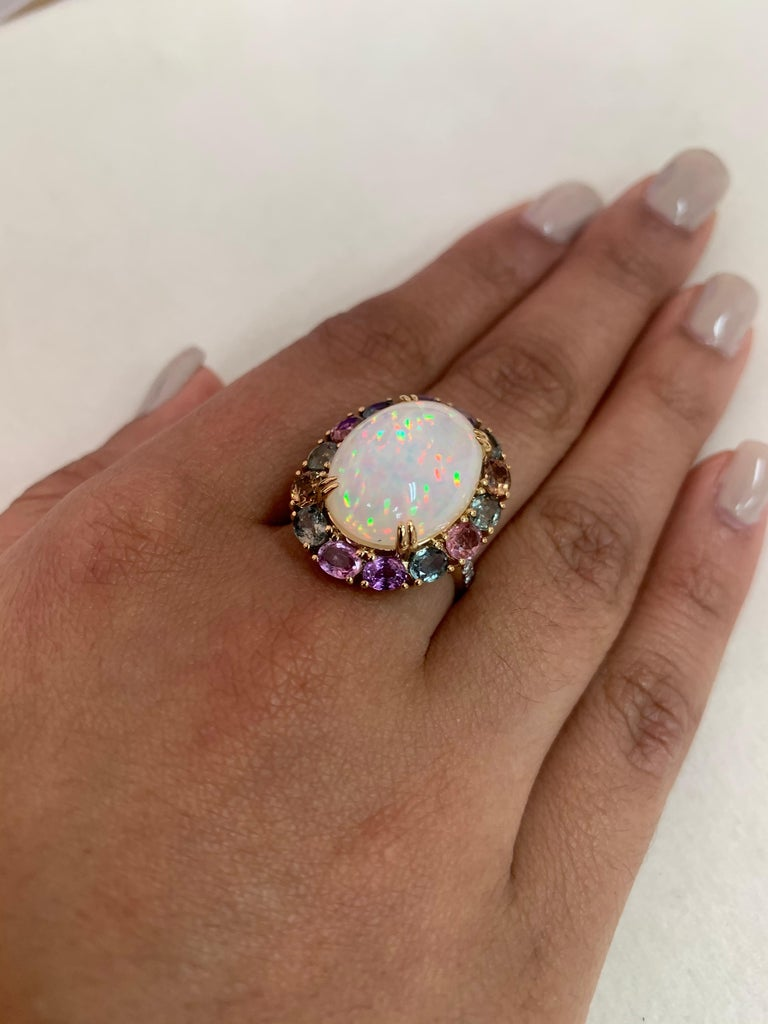 Women's Ethiopian Opal & Rainbow Sapphire Ring with Diamond in 18 Karat Yellow Gold For Sale