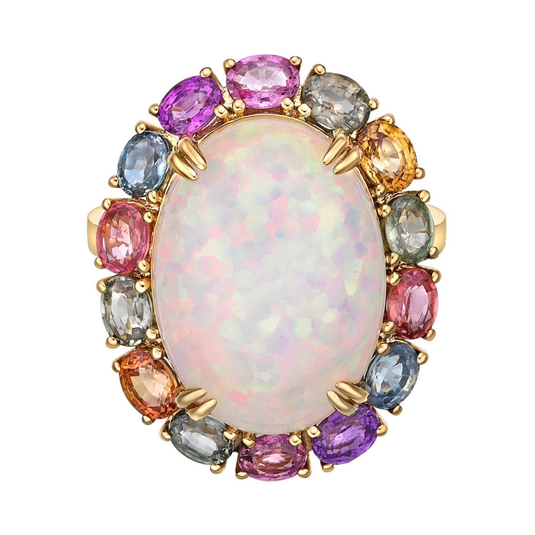 Ethiopian Opal & Rainbow Sapphire Ring with Diamond in 18 Karat Yellow Gold