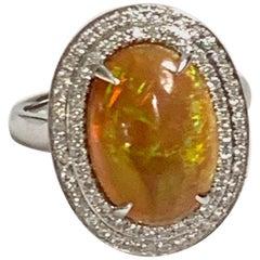 Ethiopian Opal with Diamond Double Halo Cocktail Ring, 14 Karat White Gold