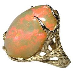 Ethiopian Opal Yellow Gold Ring Art Nouveau Style Iridescent Gemstone Jewelry