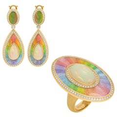Ethiopian Opals Diamonds 18 Karat Yellow Gold Enamel Suite