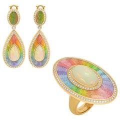 Ethiopian Opals Diamonds 18 Karat Yellow Gold Enamel Suite