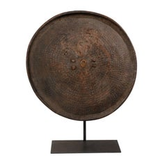 Ethiopian Round Leather Tribal Shield on Custom Iron Stand