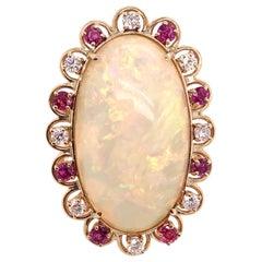 Ethiopian Ruby Diamond Cocktail Ring 18 Karat Yellow Gold