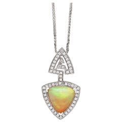 Ethiopian Triangle Cabouchon Opal and Diamond 18 Carat Gold Pendant and Chain