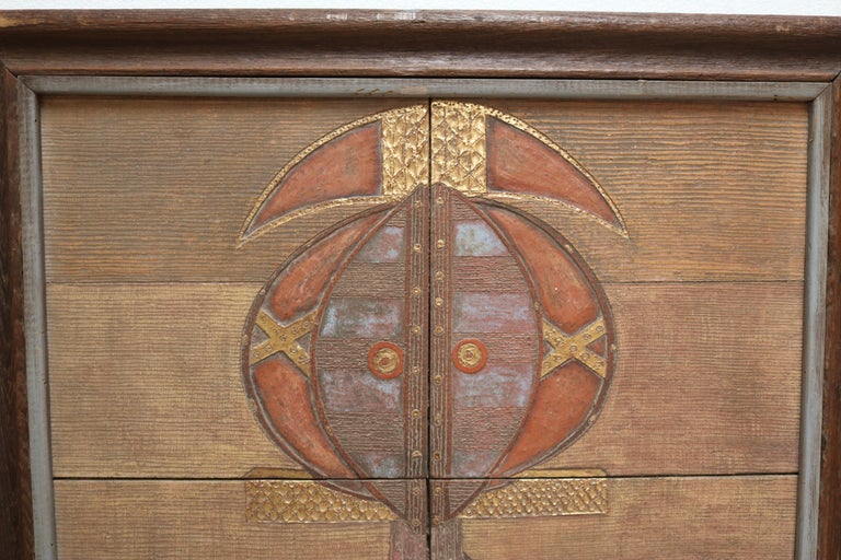 Mid-Century Modern Ethnic Ghanaian Wood Wall Panel with Embossed Brass For Sale