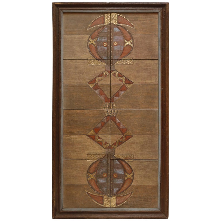 Ethnic Ghanaian Wood Wall Panel with Embossed Brass For Sale