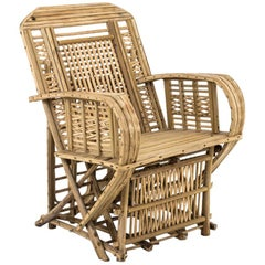 Ethnical Style Armchair in Raw Bamboo, 1980s