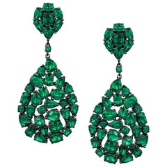 Etho Maria 18 Karat Blackened Gold Drop Earrings with 14.09 Carat Emeralds
