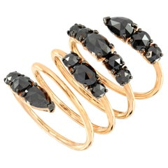 Etho Maria 18 Karat Gold and Black Diamond Wrap Ring