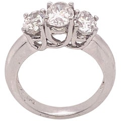 Ethonica Certified Three-Stone Diamond Ring in Platinum