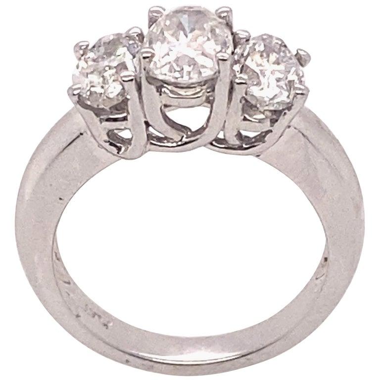 Ethonica Certified Three-Stone Diamond Ring in Platinum For Sale