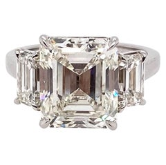 Ethonica Certified Three-Stone Emerald-Cut Diamond Ring in Platinum