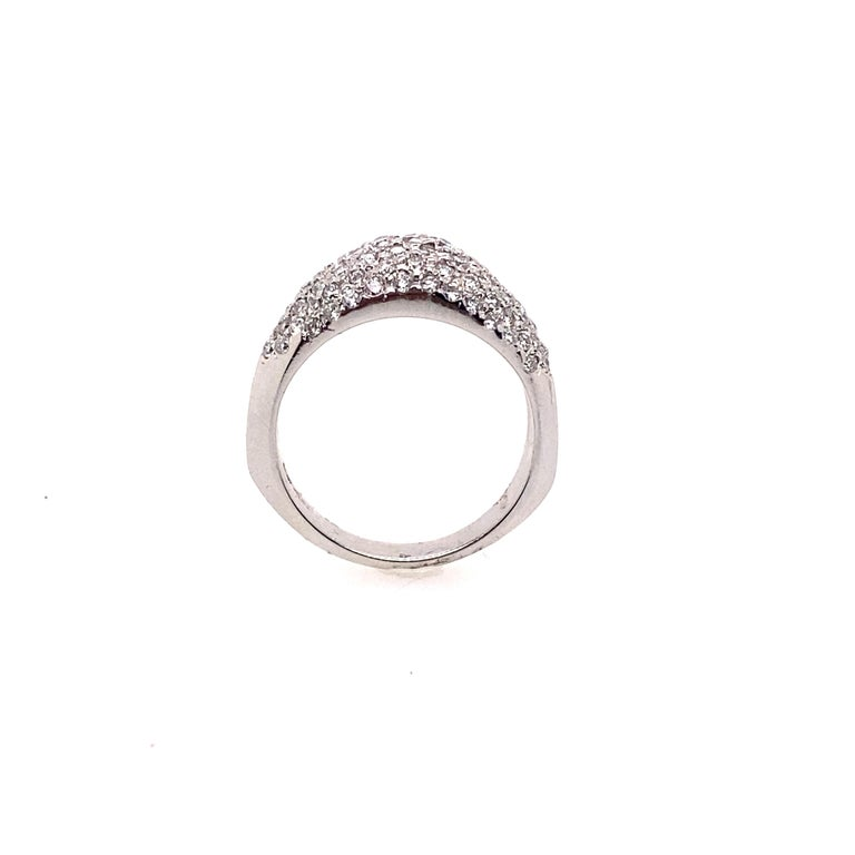 This beautiful dome shaped ring features Platinum base, with Micro-Pave style of hand set diamonds 1.00 carat of round diamonds. The perfect gift for any occasion.  Diamonds Weight: 1.00 carat Diamonds Shape : Brilliant Round Diamonds Color &