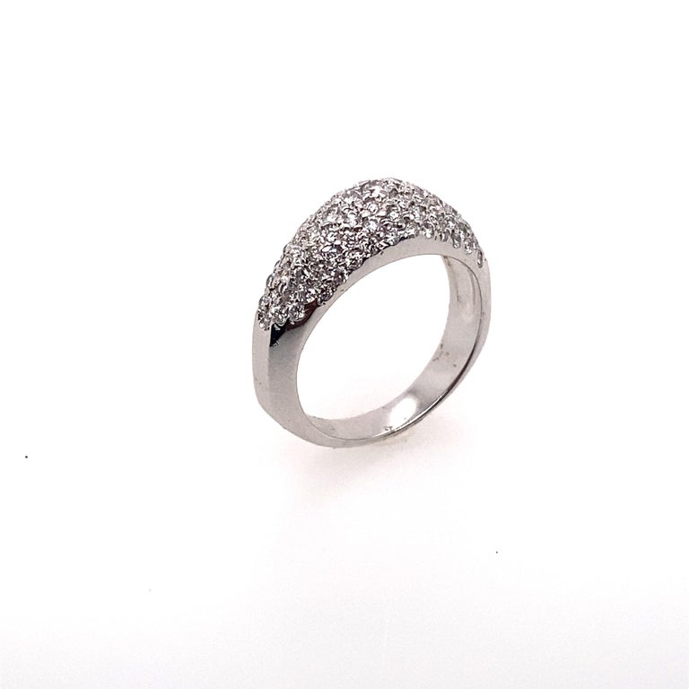 Contemporary Ethonica Diamond Dome Ring in Platinum For Sale