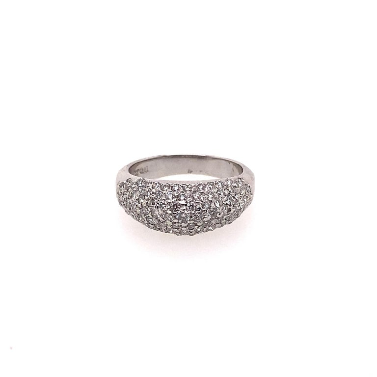 Round Cut Ethonica Diamond Dome Ring in Platinum For Sale
