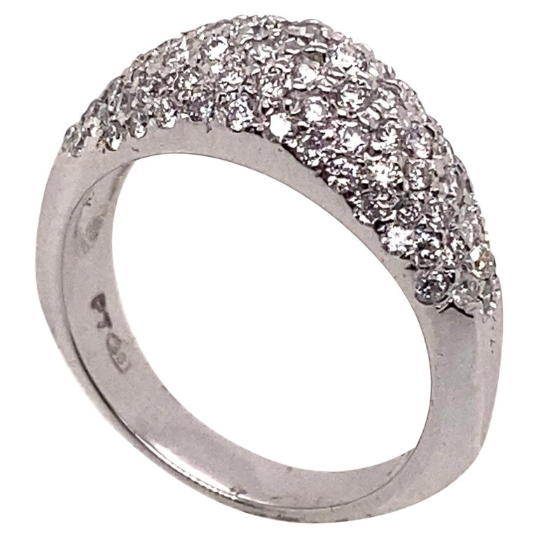 Ethonica Diamond Dome Ring in Platinum For Sale