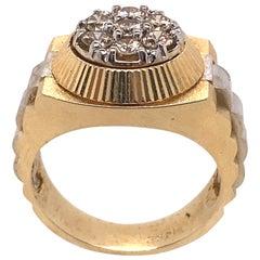 Ethonica Diamond Signet Ring in 14 Karat Gold