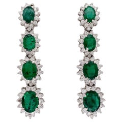Ethonica Emerald and Diamond Cluster Hanging Earrings in 18 Karat Gold