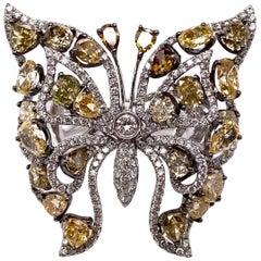 Ethonica Fancy Yellow Diamond Butterfly Ring in 18 Karat Gold