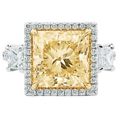 Ethonica Fancy Yellow Princess Cut Diamond Ring in Platinum