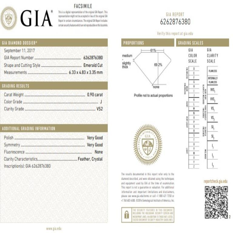 Ethonica GIA Certified Asscher Cut Diamond in Three-Stone Platinum Ring In New Condition For Sale In New York, NY