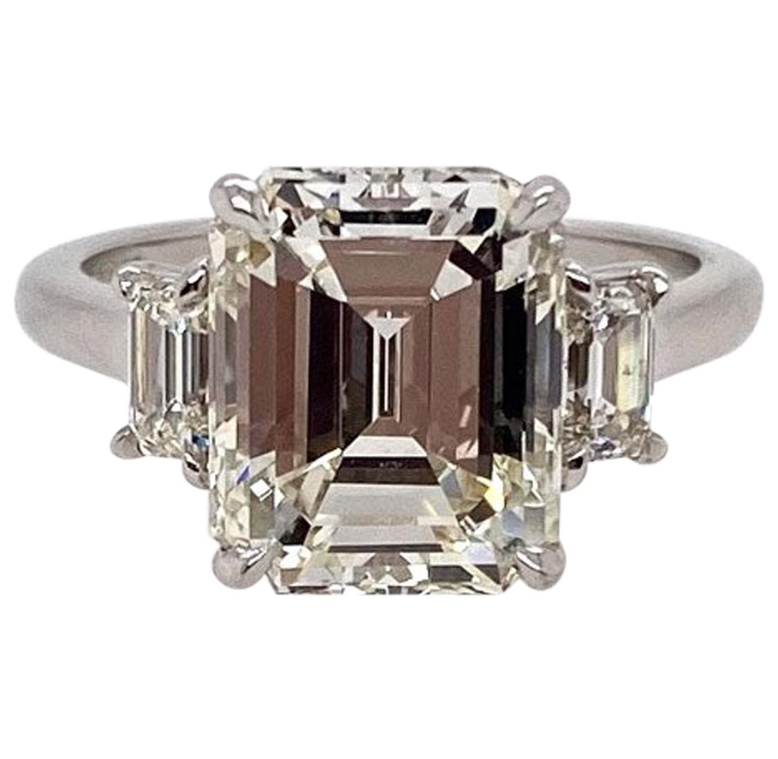 Ethonica GIA Certified Emerald Cut Diamond Three-Stone Ring in Platinum