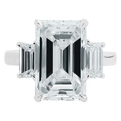 Ethonica GIA Certified Emerald-Cut Diamond Three-Stone Ring in Platinum