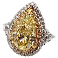 Ethonica GIA Certified Fancy Yellow Pear Diamond Ring in Platinum