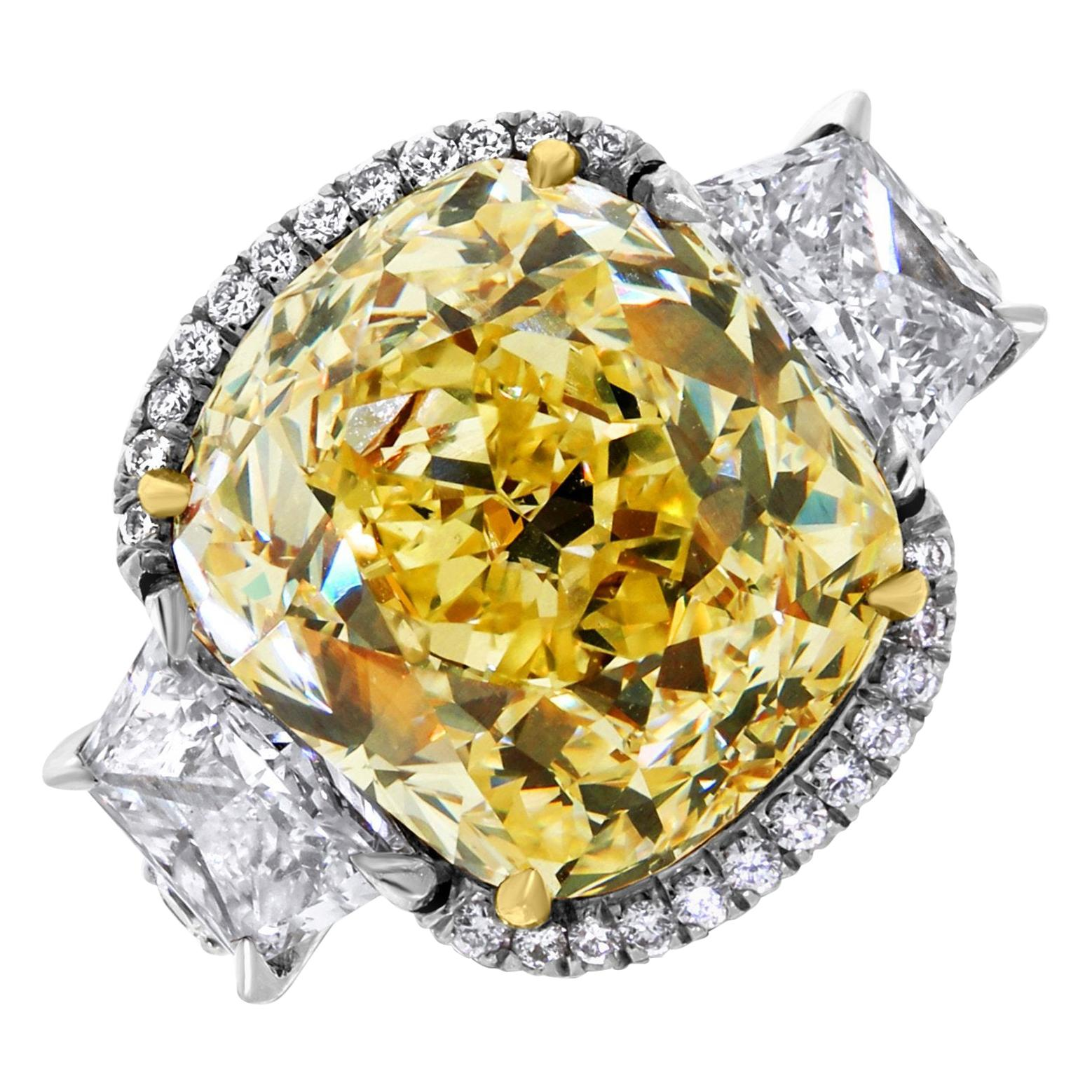 Ethonica GIA Certified Old Cut Fancy Yellow Cushion Diamond Ring in Platinum