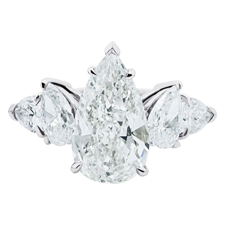 Ethonica GIA Certified Pear Diamond Ring in Platinum For Sale
