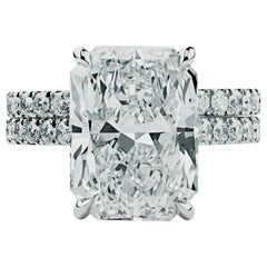 Ethonica GIA Certified Radiant-Cut Diamond Engagement Ring Suit in Platinum
