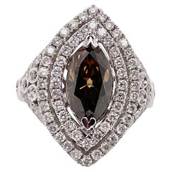 Ethonica GIA Certified Rare Fancy Brown Oval Diamond Ring in 14 Karat Gold