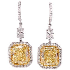 Ethonica GIA Certified Rare Fancy Yellow Diamond Earrings in Platinum