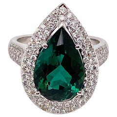 Ethonica Green Tourmaline and Diamond Ring in 18 Karat Gold