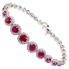 Ethonica Halo Collection Ruby and Diamond Cluster Bracelet in 18 Karat Gold